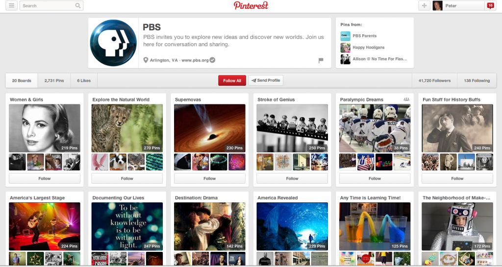 PBS's Pinterest Page