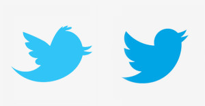 New Twitter logo on right