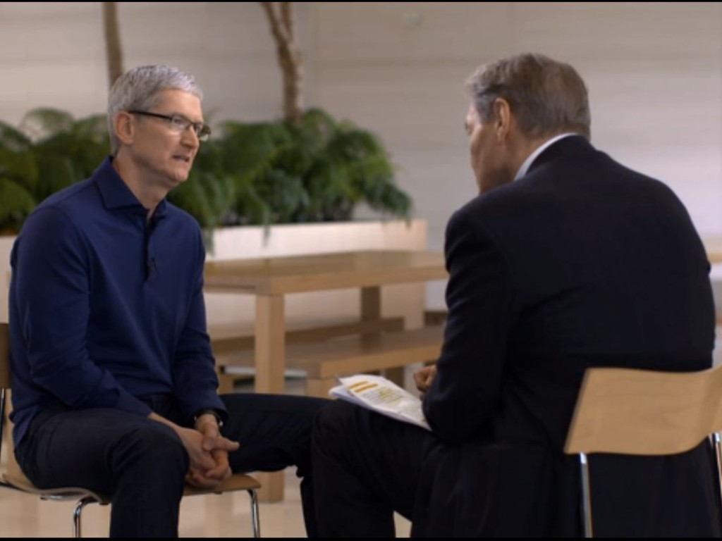 "Apple's Tim Cook with CBS News' Charlie Rose on ""60 Minutes"""