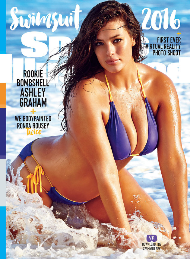 Ashley Graham, the first plus-sized model to grace the cover of SI's swimsuit issue.