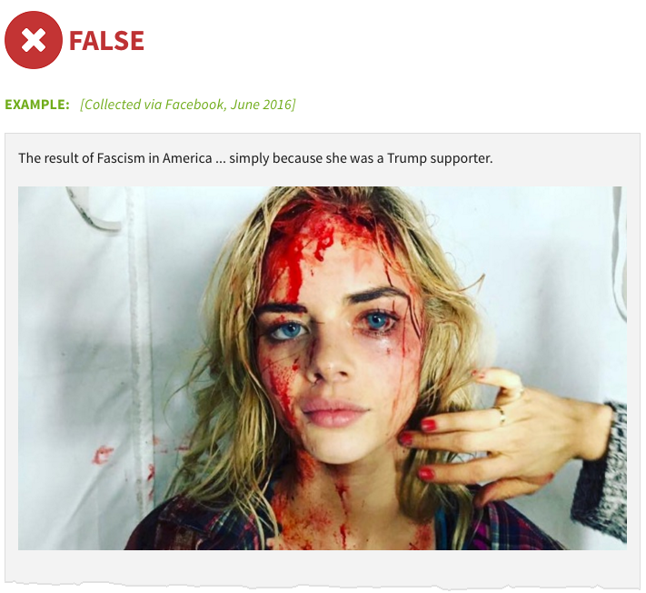 "Fake image alleging that ""liberal anti-Trump activists"" bloodied this woman"