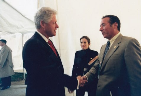 Bill Clinton with Peter Himler World War II Museum dedication